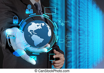 businessman hand holding cloud network icon on touch screen comp