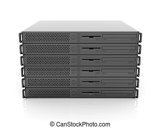 19inch Server Stack - 3D rendered Illustration