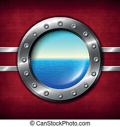 Ship porthole with seascape
