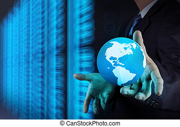 Businessman hand working with 3d globe with Cloud Computing...