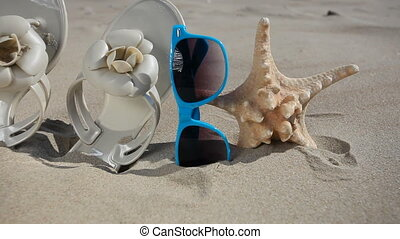 Sunglasses flip flops and starfish - Colorful sunglasses,...