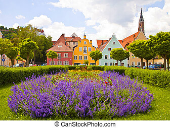 Germany - Landshut, colorful Renaissance facades and blue...