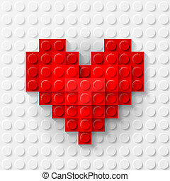 Red heart made of construction kit - Plastic red heart on...