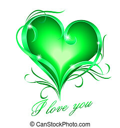 Green heart with I love you text