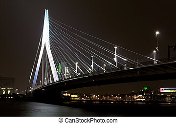Night view of Erasmus Bridge in Rotterdam - Erasmus Bridge...