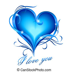 Blue heart with I love you text