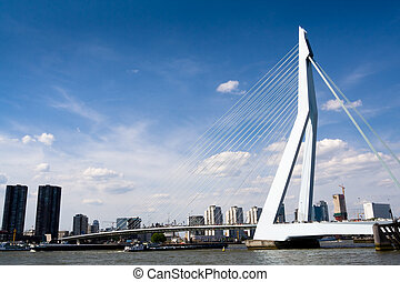 Meuse River and Erasmus Bridge in the city of Rotterdam