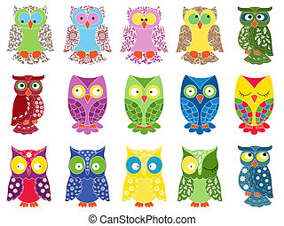 Set of fifteen colourful owls - Set of fifteen colourful...