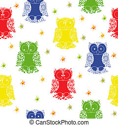 Different colour owl and stars seamless pattern with lace...