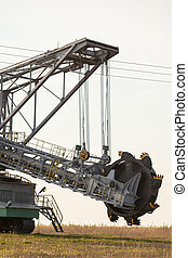 Opencast brown coal mine. Bucket wheel excavator. - Open...