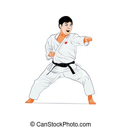 Karate attack - Karate fighting stance isolated