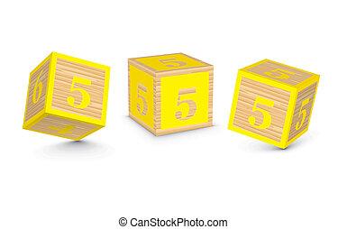 Vector number 5 wooden blocks