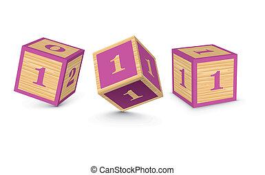 Vector number 1 wooden blocks