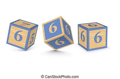 Vector number 6 wooden blocks