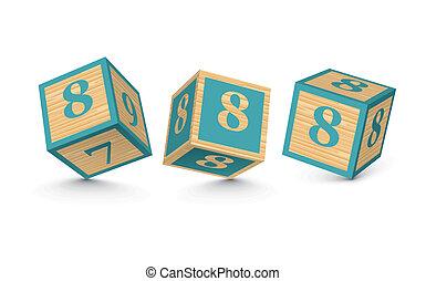 Vector number 8 wooden blocks