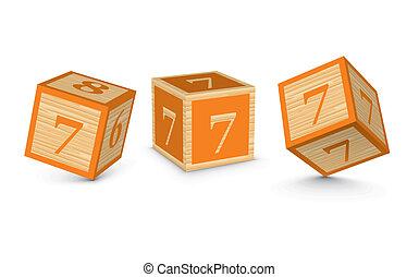 Vector number 7 wooden blocks