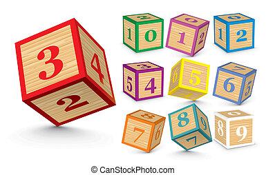 Vector wooden number blocks - Wooden number blocks - vector...