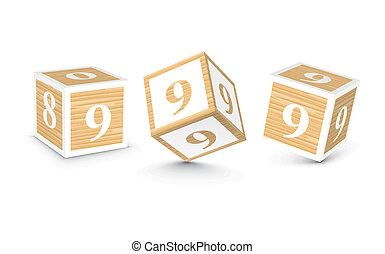 Vector number 9 wooden blocks