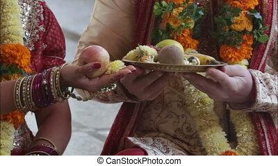 groom bride take eat