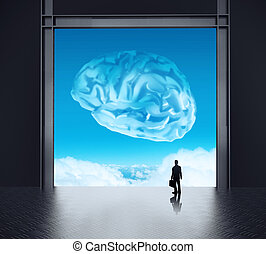 silhoette businessman looking to brain as cloud icon concept