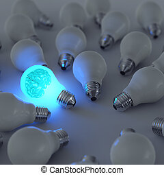 3d metal brain and growing light bulb standing out from the...