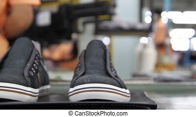 footwear making processing on conveyor