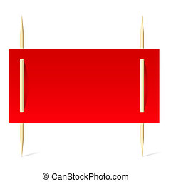 Red paper on toothpicks