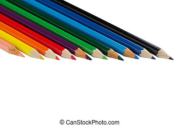 Color pencils - Close up of color pencils with different...