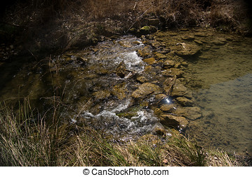 río, poco, cascada, bosques