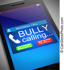 Bullying concept - Illustration depicting a phone with a...