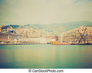Retro look View of Genoa Italy from the sea - Vintage...