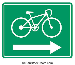 Large green bicycle sign - Illustration of a large green...