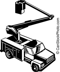Black bucket truck - Illustration of a black bucket truck on...