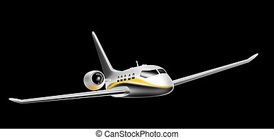 Corporate jet - Illustration of a corporate jet front...
