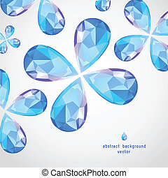 Vector Blue Sapphire the Drop, Flowers of Diamonds