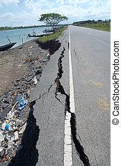 terremoto,  fissures, Erosão, estrada, asfalto