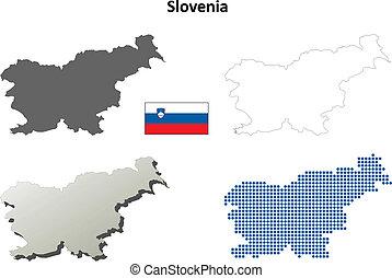 Slovenia outline map set