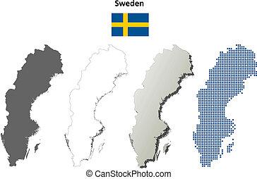 Sweden outline map set