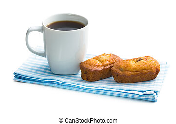 sweet dessert and coffee cup on white background