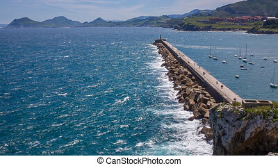 Breakwater Castro Urdiales - Breakwater and harbor in Castro...