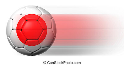 Soccer ball with Japanese flag in motion isolated