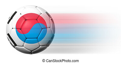 Soccer ball with South Korean flag in motion isolated