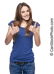 Smiling emotional girl pointing to the side - Young cute...