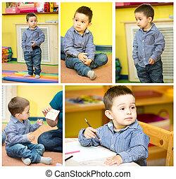 child boy playing in kindergarten