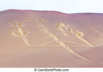 Candelabra, Peru, ancient mysterious drawing in the desert...