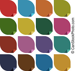 16 retro colored blank stickers. Vector illustration