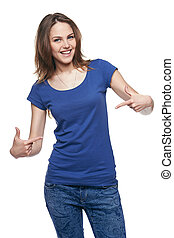 Smiling woman pointing at herself