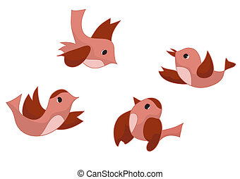 vector set of four birds