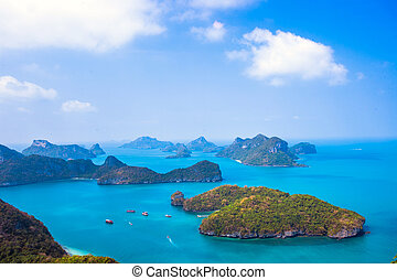 View from mountain on Angthong Marine National Park - View...