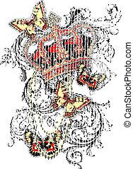 Crown butterfly scroll pattern